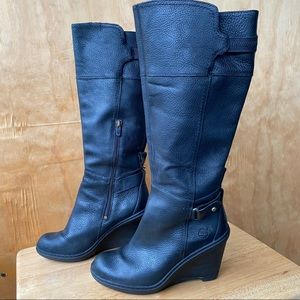 Timberland Black Leather Knee Hugh Wedge Boots